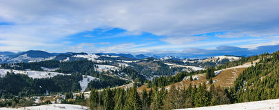 Sunny winter day in the Carpathian Mountains. Ukraine Royalty Free Stock Images