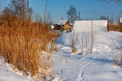 Sunny winter day in the countryside. The sign of winter-icicles Stock Photos