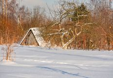Sunny winter day in the countryside. The sign of winter-icicles Royalty Free Stock Photos