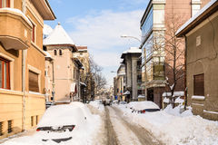 Sunny Winter Day Following A Strong Snow Storm In Downtown Bucharest City Stock Images