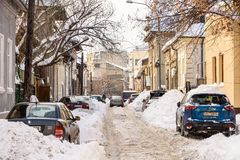 Sunny Winter Day Following A Strong Snow Storm In Downtown Bucharest City Royalty Free Stock Photos