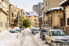Sunny Winter Day Following A Strong Snow Storm In Downtown Bucharest City Royalty Free Stock Photography