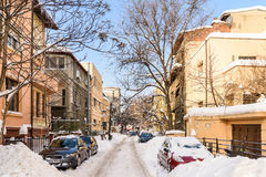 Sunny Winter Day Following A Strong Snow Storm In Downtown Bucharest City Royalty Free Stock Images