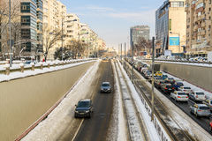 Sunny Winter Day Following A Strong Snow Storm In Downtown Bucharest City Royalty Free Stock Image