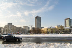 Sunny Winter Day Following A Strong Snow Storm In Downtown Bucharest City Stock Photography