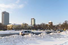 Sunny Winter Day Following A Strong Snow Storm In Downtown Bucharest City Stock Photos
