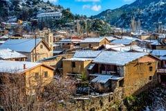 Sunny winter day in Kakopetria village. Nicosia District, Cyprus Stock Images