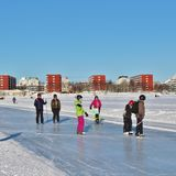 A sunny winter day in Luleå Royalty Free Stock Photo