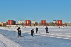 A sunny winter day in Luleå Royalty Free Stock Photography