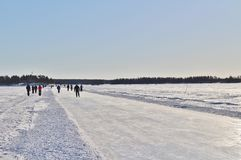 A sunny winter day in Luleå Stock Photo