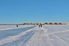 A sunny winter day in Luleå Stock Photography