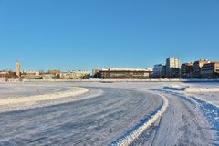 A sunny winter day in Luleå Royalty Free Stock Image
