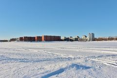 A sunny winter day in Luleå Royalty Free Stock Images