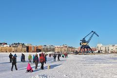 A sunny winter day in Luleå Stock Images