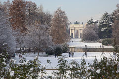 Sunny winter day in main park of Milan Royalty Free Stock Image