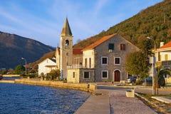 Sunny winter day in Mediterranean village. Montenegro, Tivat. View of Donja Lastva village royalty free stock image