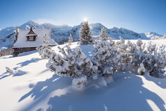 Sunny winter day in the mountains - mountain hut Stock Images