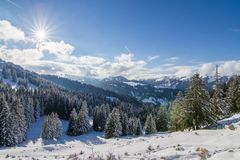 Sunny winter day in the mountains royalty free stock photography