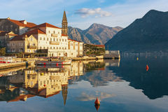 Sunny winter day. Perast town. Montenegro Stock Photo