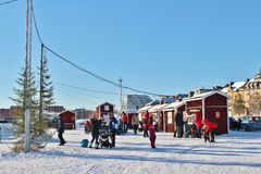 A sunny winter day in Southern harbour in Luleå Royalty Free Stock Photo