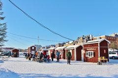 A sunny winter day in Southern harbour in Luleå Royalty Free Stock Image