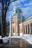 Sunny winter day in Tsaritsyno park in Moscow. The Big Palace. Royalty Free Stock Images