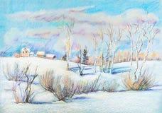 Sunny winter day. Village on hill vector illustration