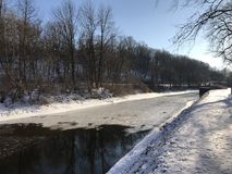 Canal path by Lehigh river in winter stock images