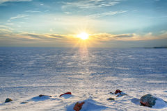 Sunny winter evening in the Gulf of Finland Royalty Free Stock Image