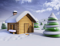 Sunny winter landscape. 3d christmas house and fir-tree vector illustration