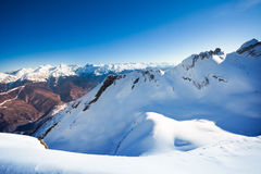 Sunny winter landscape of Caucasus mountains Royalty Free Stock Photo