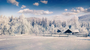 Sunny winter landscape in mountain village Royalty Free Stock Photos