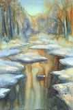 Sunny winter landscape with a river watercolor Royalty Free Stock Image