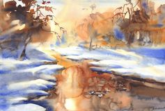 Sunny winter landscape with a river watercolor Stock Photo