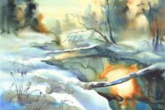 Sunny winter landscape with a river watercolor. Sunny winter landscape with a river in the forest watercolor. Snow background Stock Images