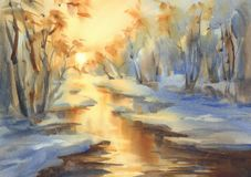 Sunny winter landscape with a river watercolor stock illustration