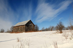 Sunny winter morning in a field. Located in Quebec, Canada Royalty Free Stock Photos