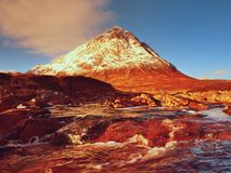 Sunny winter morning at frozen river Coupall at delta to river Etive.  Higland in Scotland an marvelous day. Stock Photo