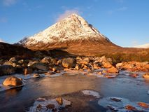 Sunny winter morning at frozen river Coupall at delta to river Etive.  Higland in Scotland an marvelous day. Stock Image