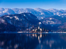 Lake Bled on a morning sun Royalty Free Stock Images