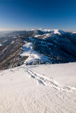 Sunny winter morning on a mountain ridge Stock Images