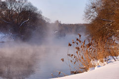 Sunny winter morning on a river. Svisloch, Belarus Stock Image