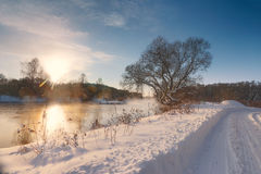 Sunny winter morning on a river. Svisloch, Belarus Royalty Free Stock Photo