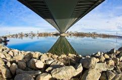 Sunny winter morning under the cable bridge on Sava river Stock Photo