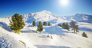 Sunny winter mountain lanscape Stock Photos