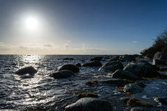 Sunny winter sea shore Royalty Free Stock Images