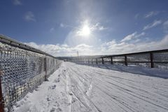 Sunny winterday in Sweden. Nice snowy winderday in Branäs Sweden 2018. Picture taken at the top with bridge in view Stock Images