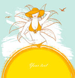 Sunny woman. Vector illustration of Sunny woman Royalty Free Stock Image