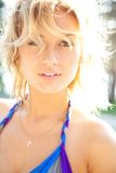 Sunny woman. Blond woman enjoy sun Stock Images