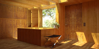 Sunny wood-panelled interior Royalty Free Stock Photo